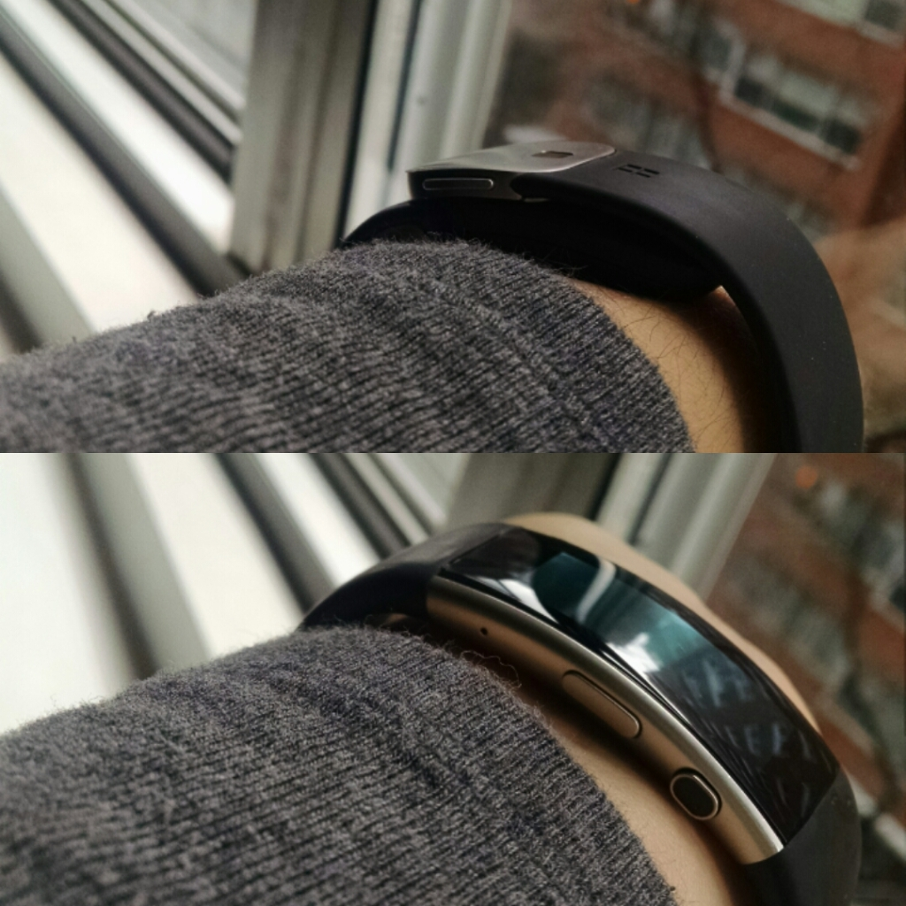 The Microsoft Band on the wrist