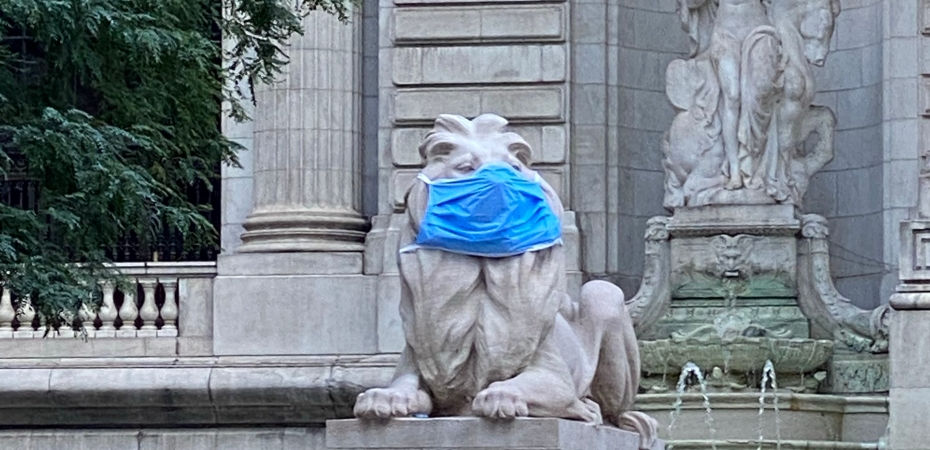 The New York Public Library Lions remind us that habits will help us fight coronavirus.